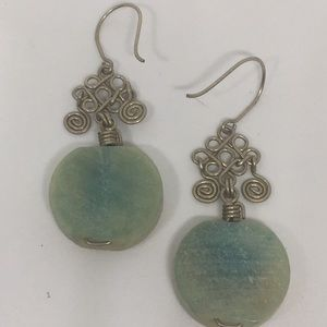 Silver Wire Wrap Spiral Faience Bead Earrings